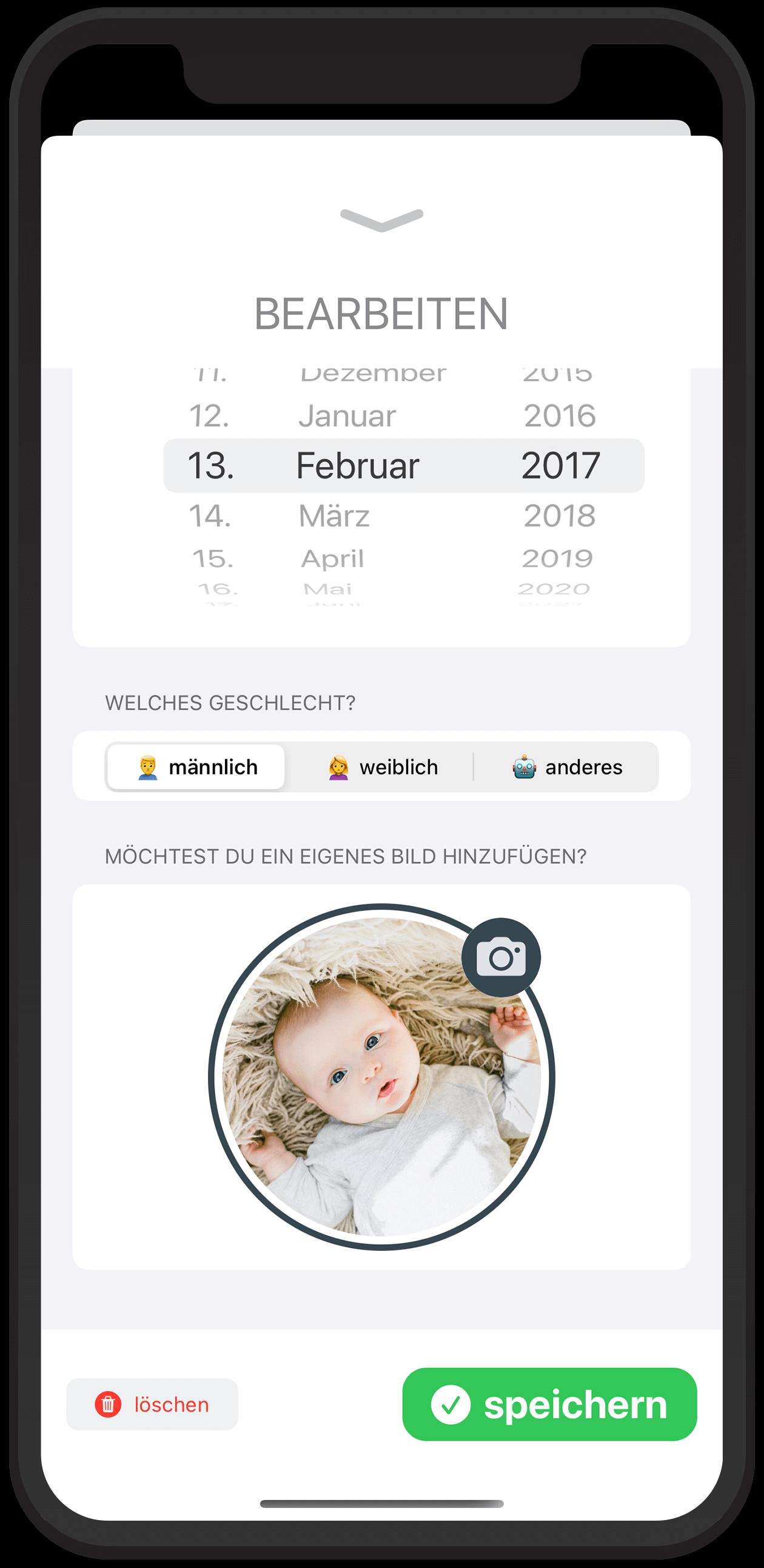 Baby-Wochen: Füge ein eigenes Bild zu jedem Kind hinzu